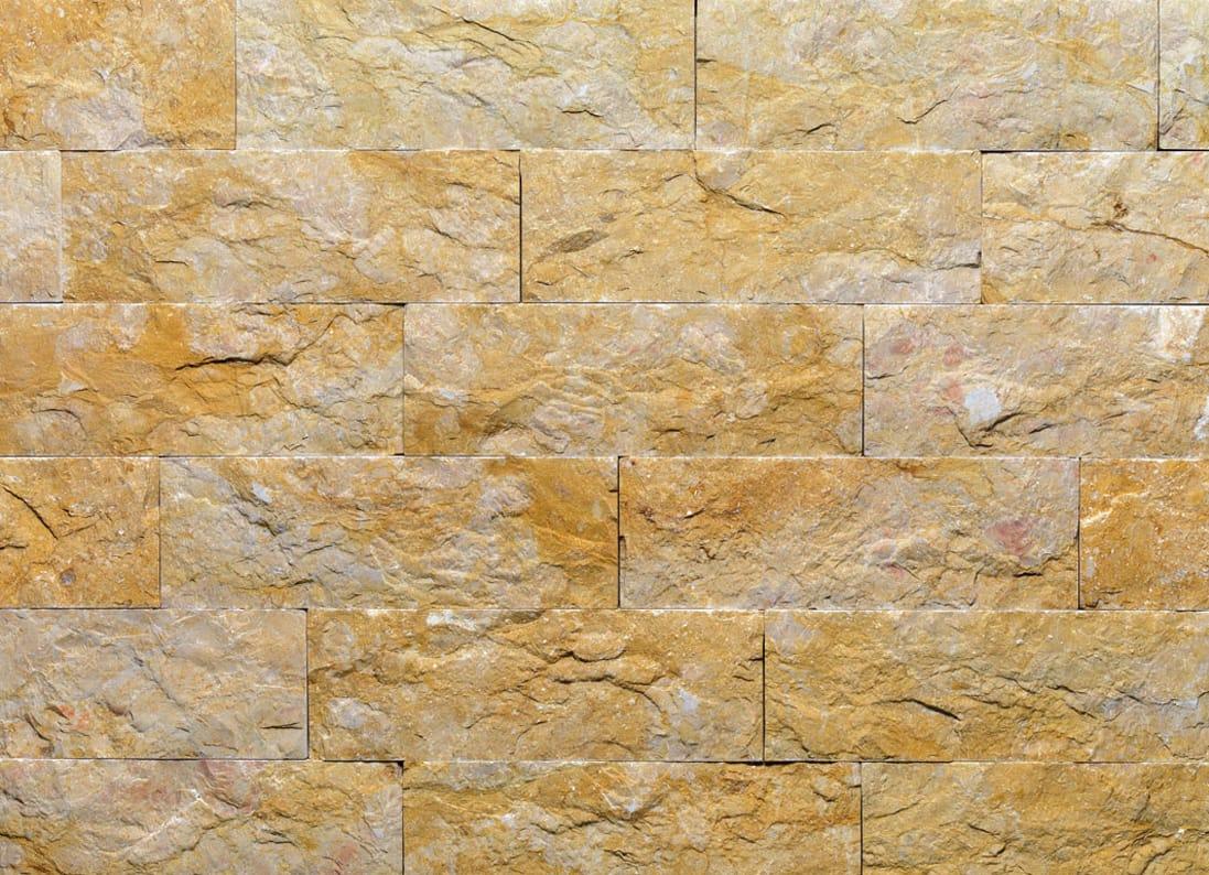 Revestimiento de fachada de piedra natural giallo reale tr - Paredes de piedra natural ...