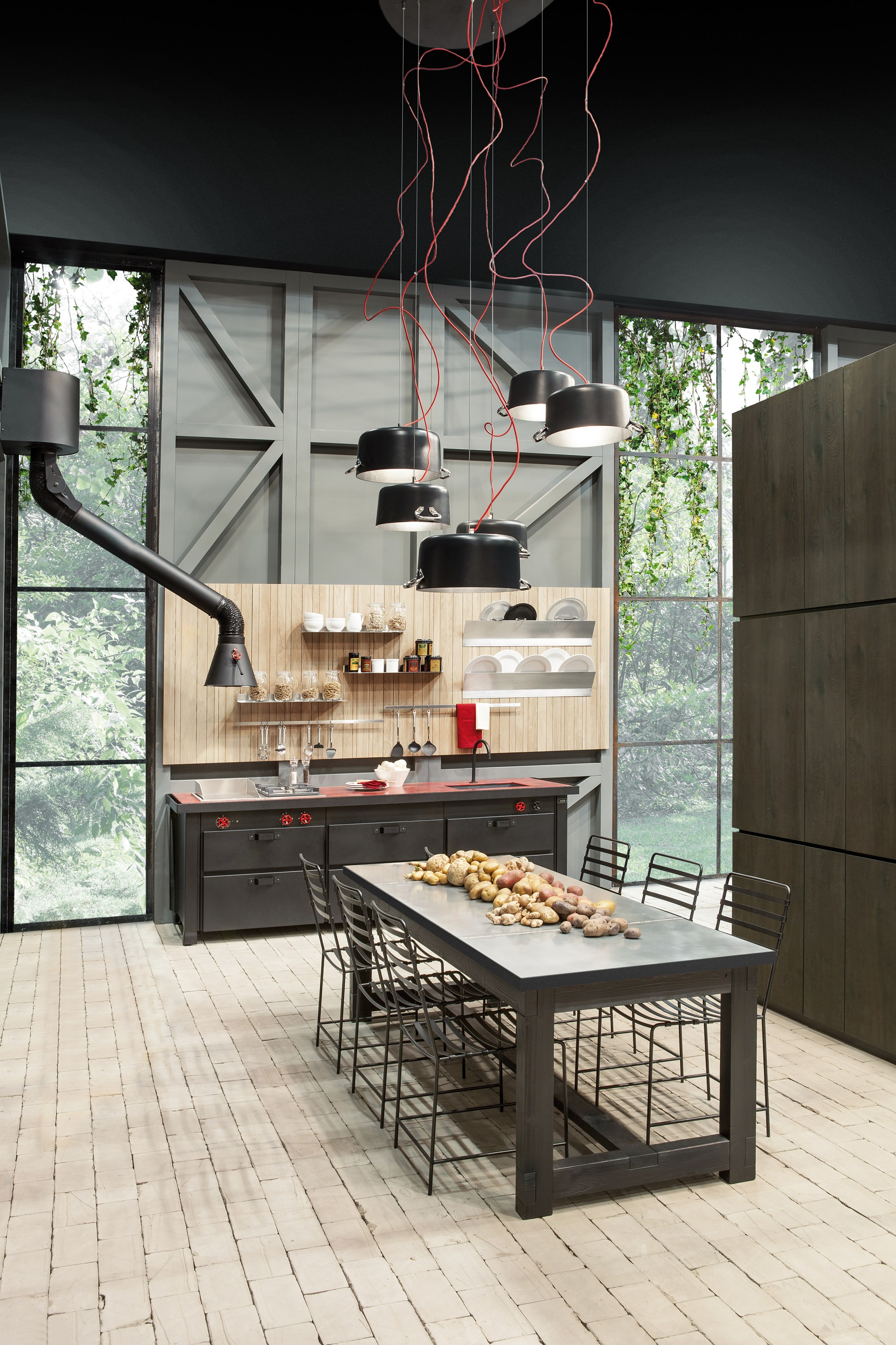 Metal kitchen min professional linear kitchen by for Mina s kitchen