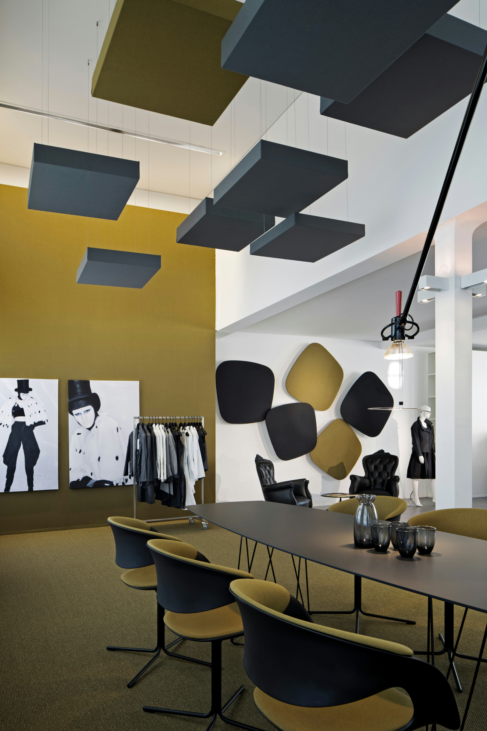 Acoustic ceiling clouds cube by carpet concept design for Modern office interior design concepts