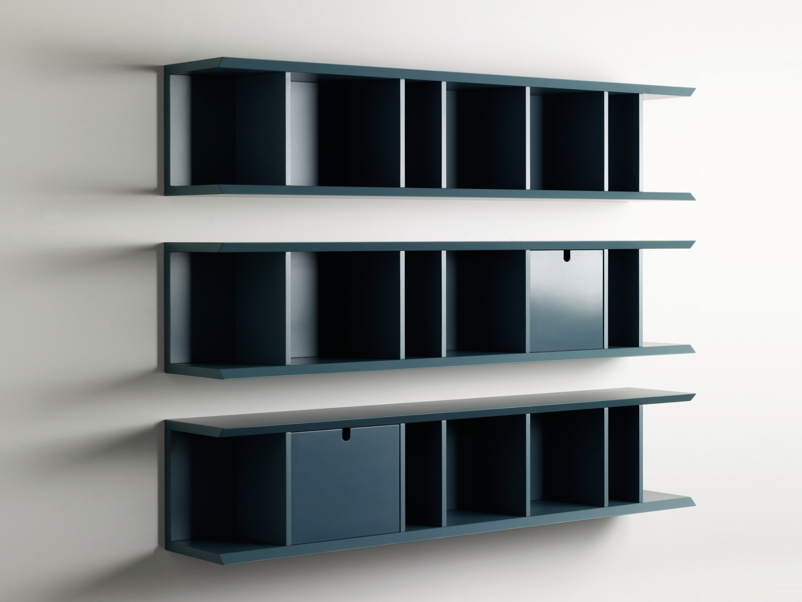 Open horizontal wall cabinet with drawers harris for Wall cabinets