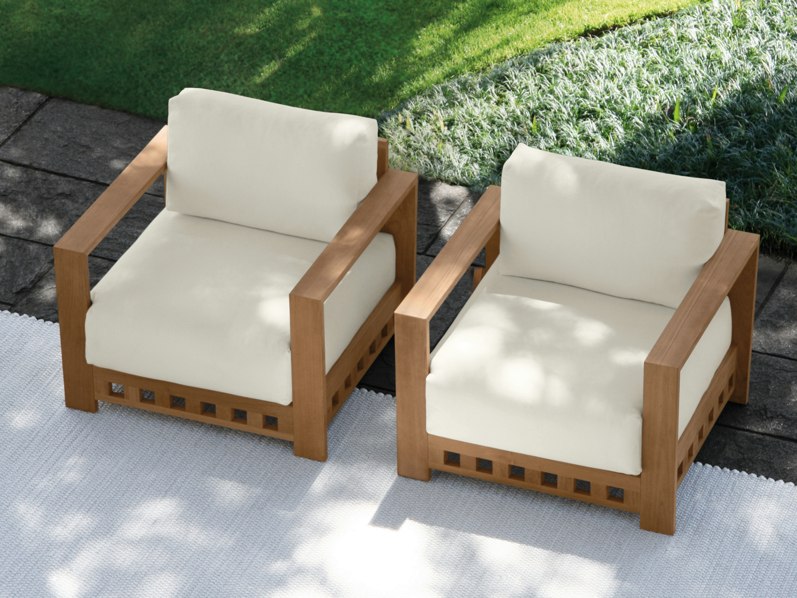 TEAK GARDEN ARMCHAIR WITH ARMRESTS SQUARE SQUARE ...
