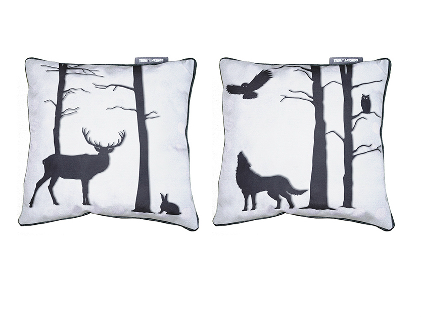 Square fabric cushion f ret enchant e by conceptuwall for Decoration foret enchantee