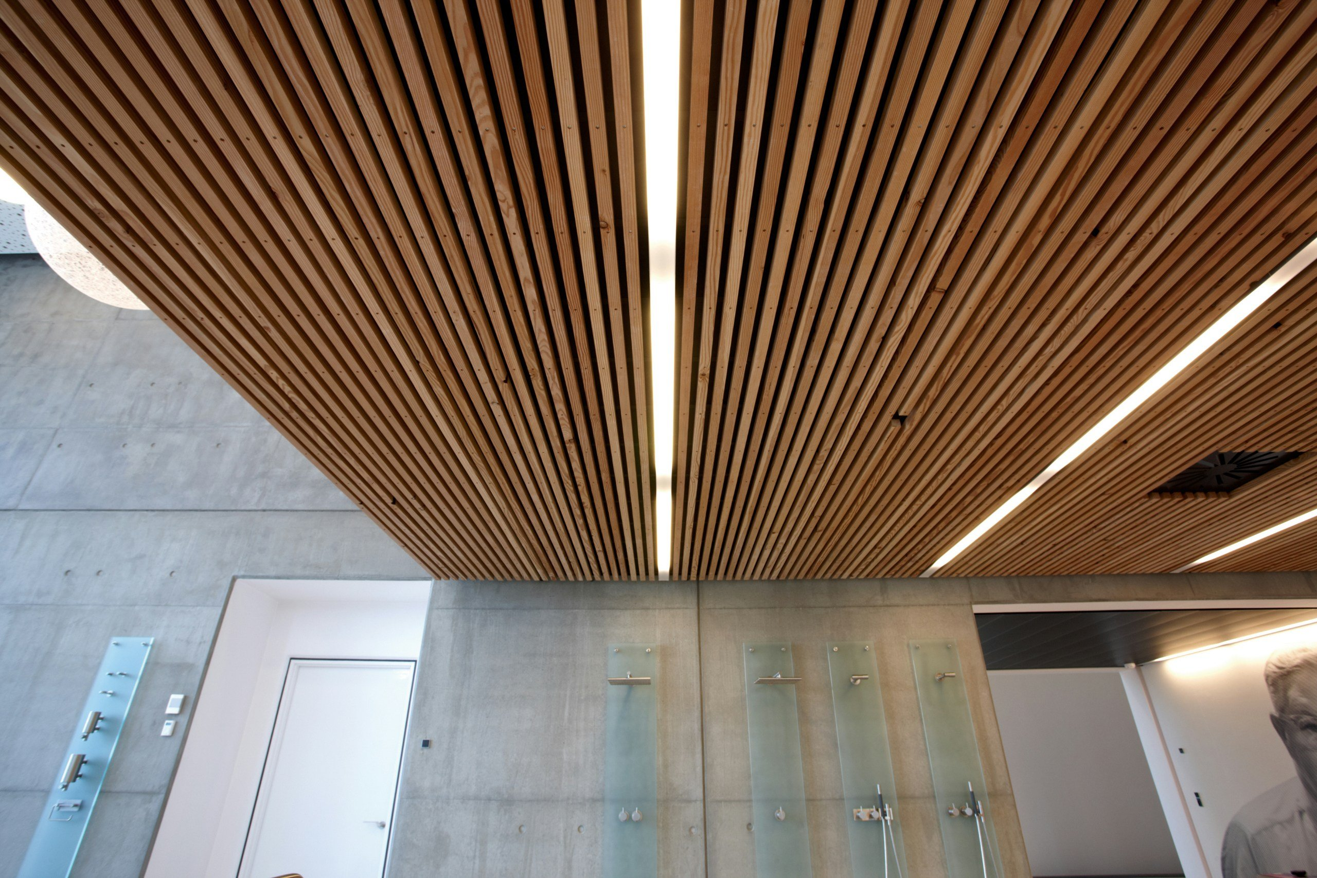 Ceiling tiles with wood effect dinesen ceiling by dinesen - Plaque faux plafond ...