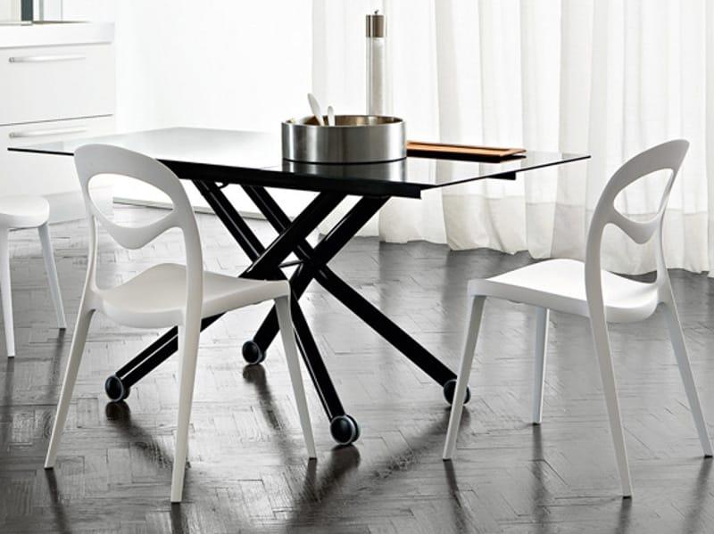 h henverstellbarer couchtisch aus glas mit rollen esprit v. Black Bedroom Furniture Sets. Home Design Ideas