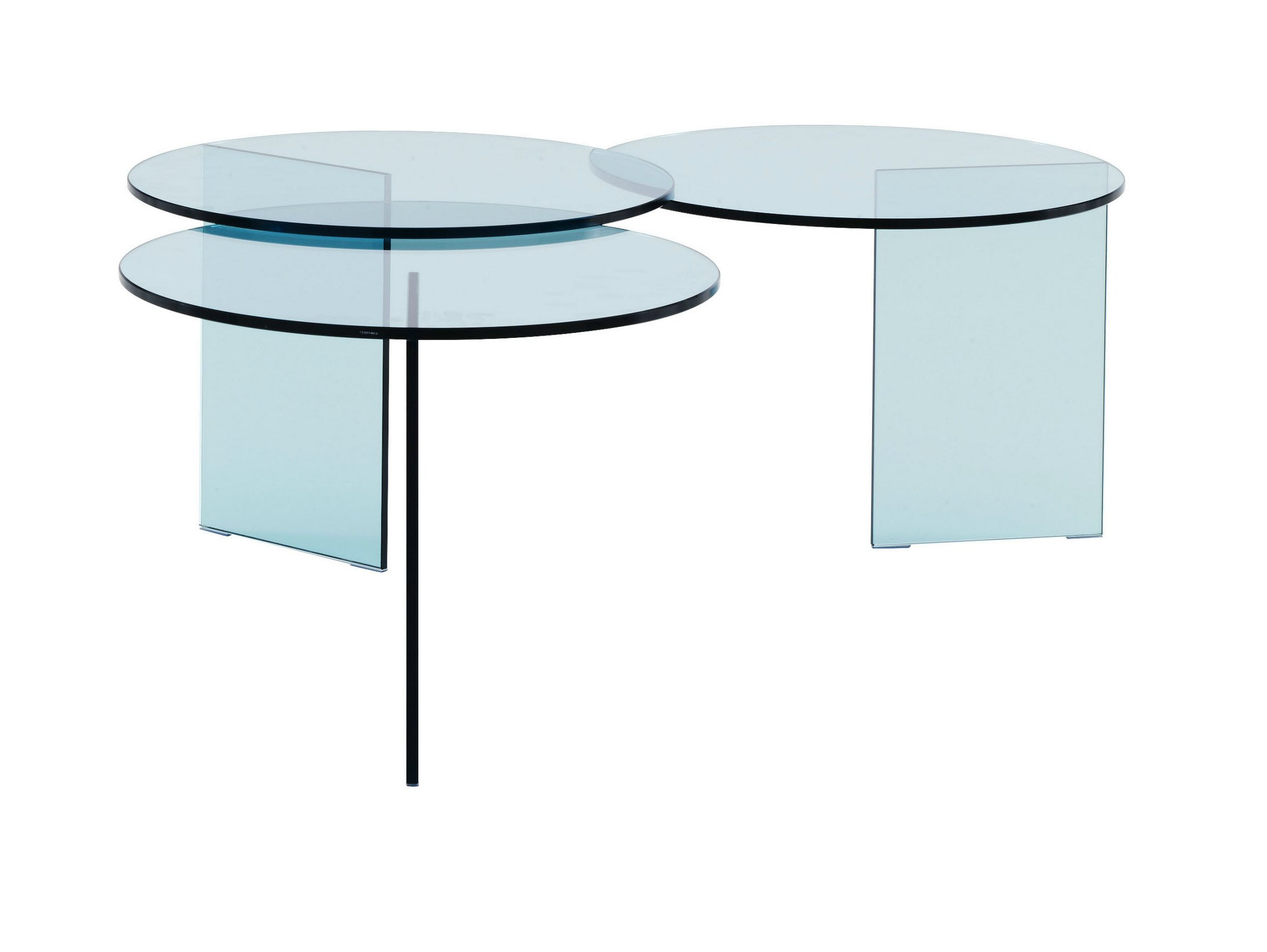 Table basse ronde en verre tremp aoyama by roset italia design no duchaufou - Table ronde verre trempe ...