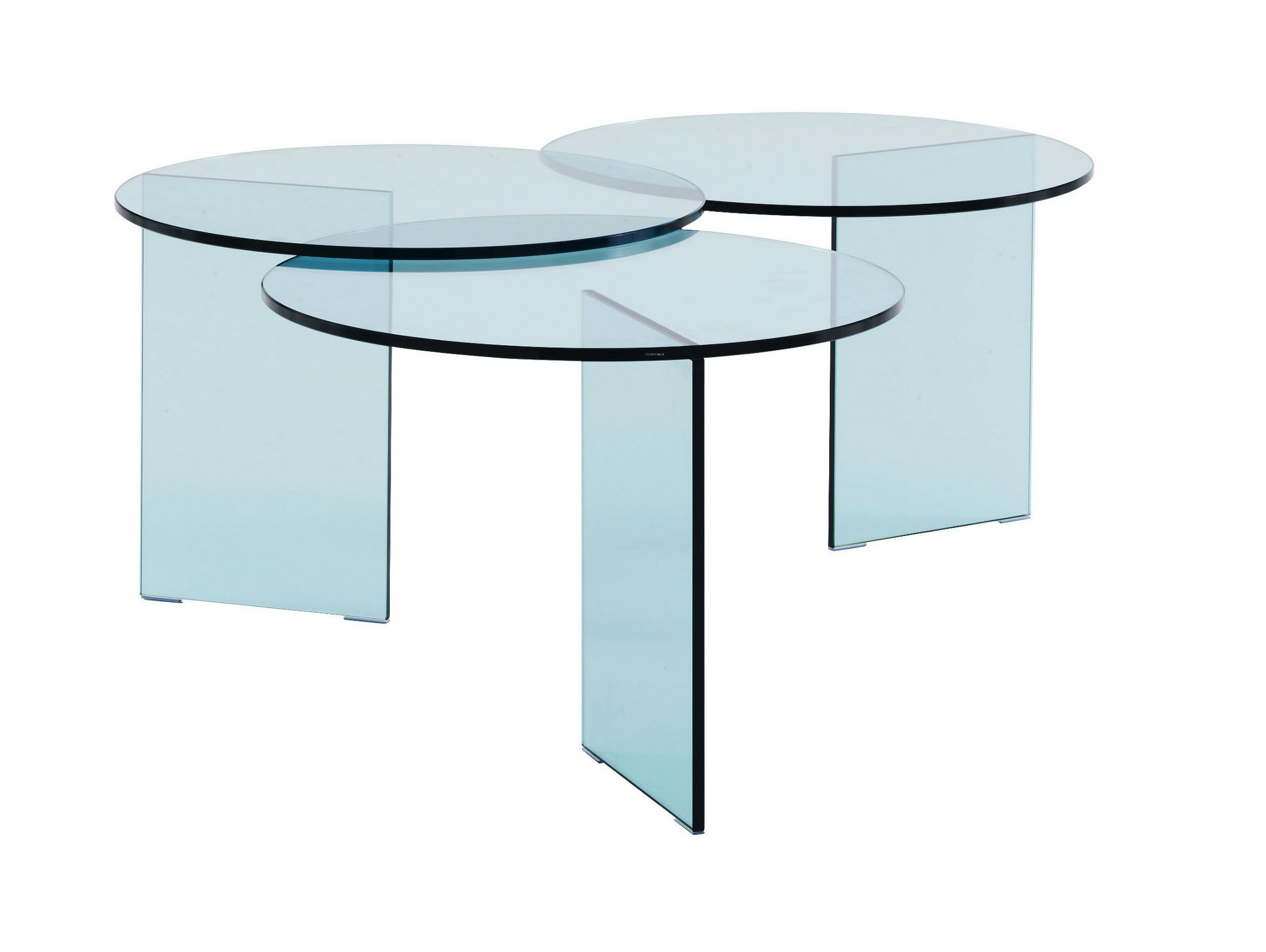 table basse ronde en verre tremp aoyama by roset italia. Black Bedroom Furniture Sets. Home Design Ideas