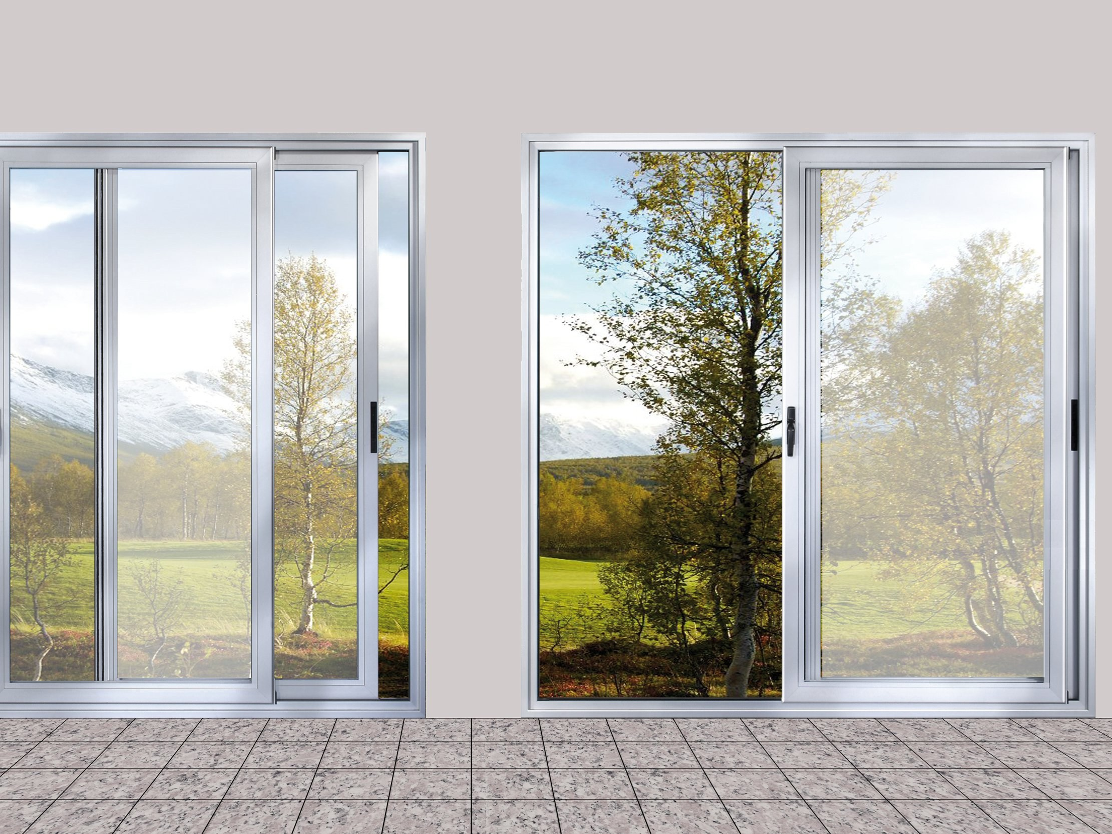 Aluminium sliding window eku 100 slide tt by profilati for Sliding glass windows