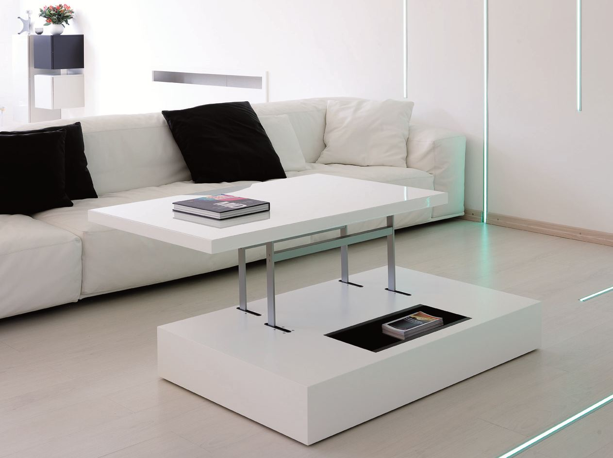 table basse r glable en hauteur flat by ozzio design. Black Bedroom Furniture Sets. Home Design Ideas