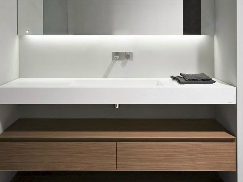 Corian washbasin countertop myslot by antonio lupi design for Salle de bain komodo