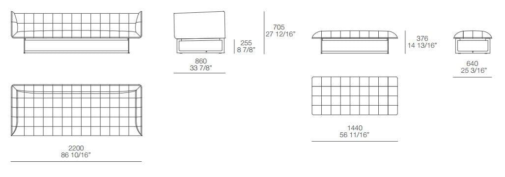 小游园长凳平面设计图