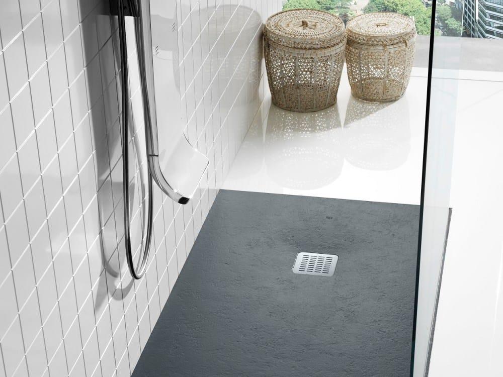 Plato de ducha rectangular de stonex terran by roca sanitario for Platos de ducha antideslizantes roca