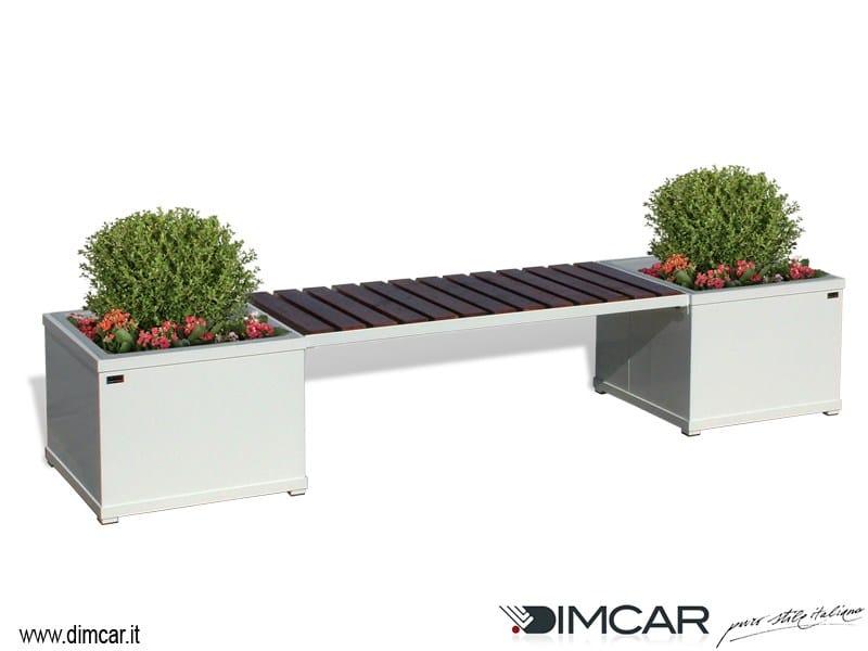 Panchina in metallo in stile moderno con fioriera for Dimcar arredo urbano