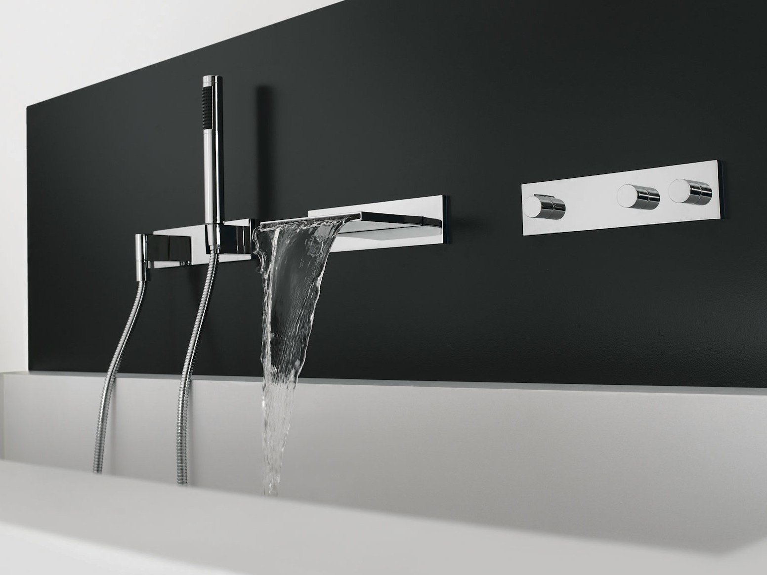 Wall-mounted chrome-plated bathtub tap with diverter SYMETRICS By ... | {Badewannenarmaturen 4}