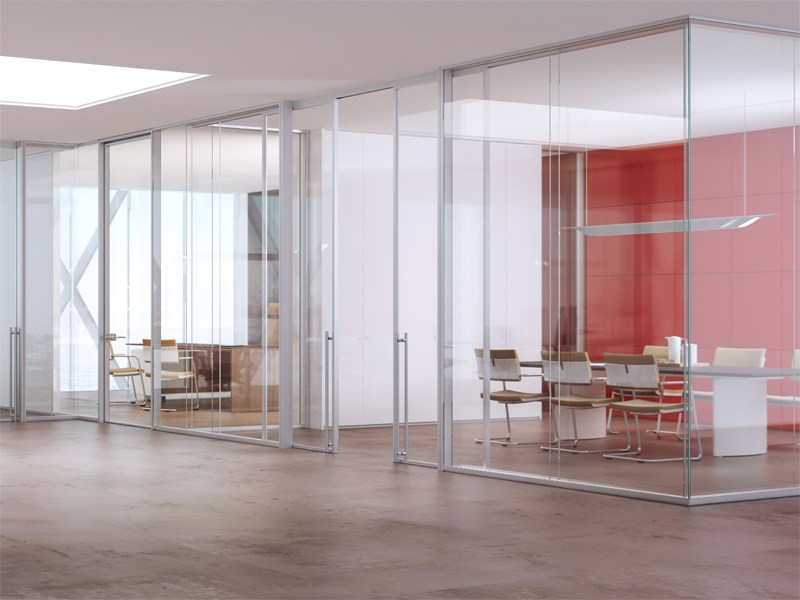 cloison amovible de bureau en aluminium et verre allinone. Black Bedroom Furniture Sets. Home Design Ideas