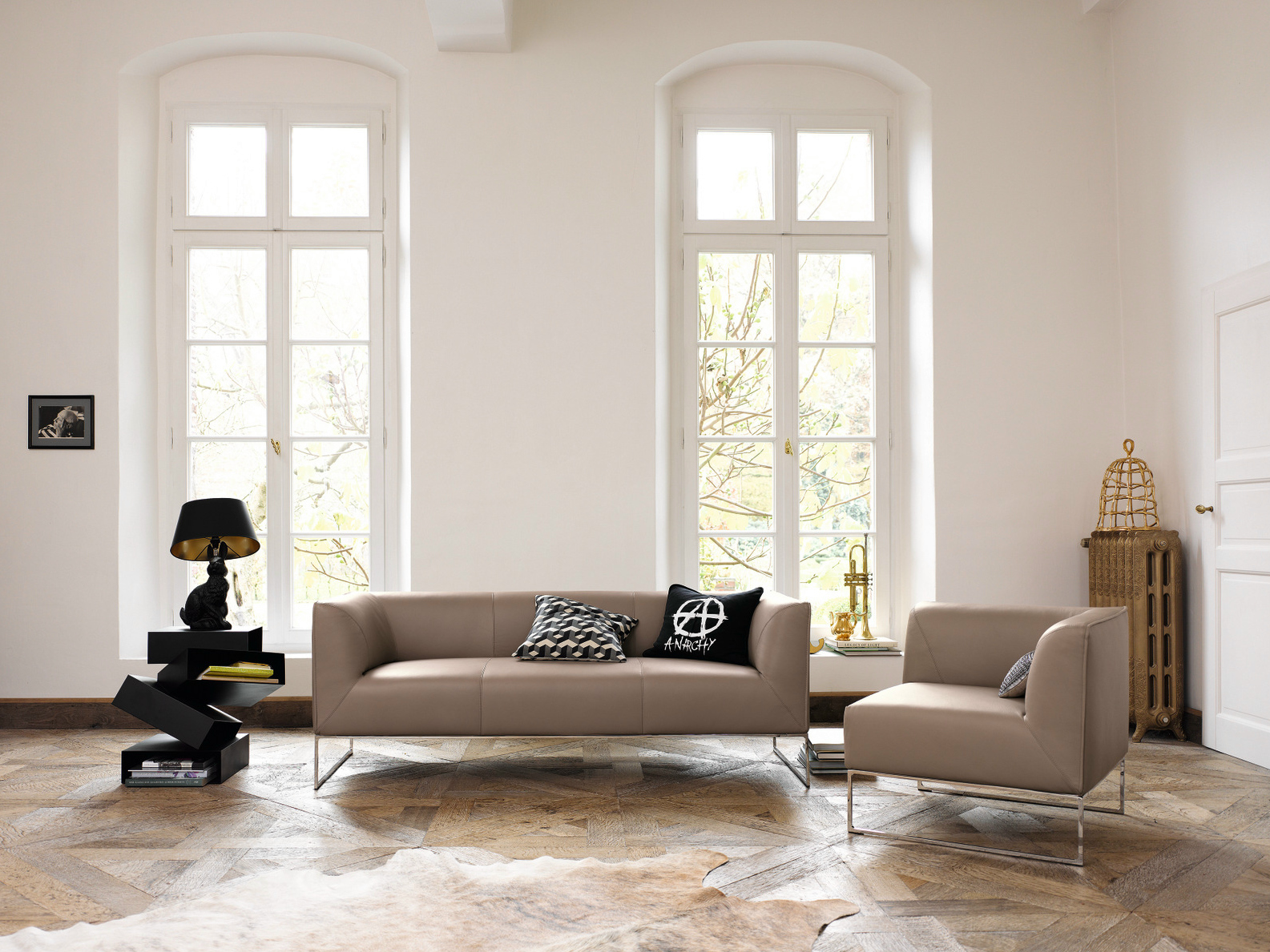 upholstered 3 seater leather sofa mell collection by cor. Black Bedroom Furniture Sets. Home Design Ideas