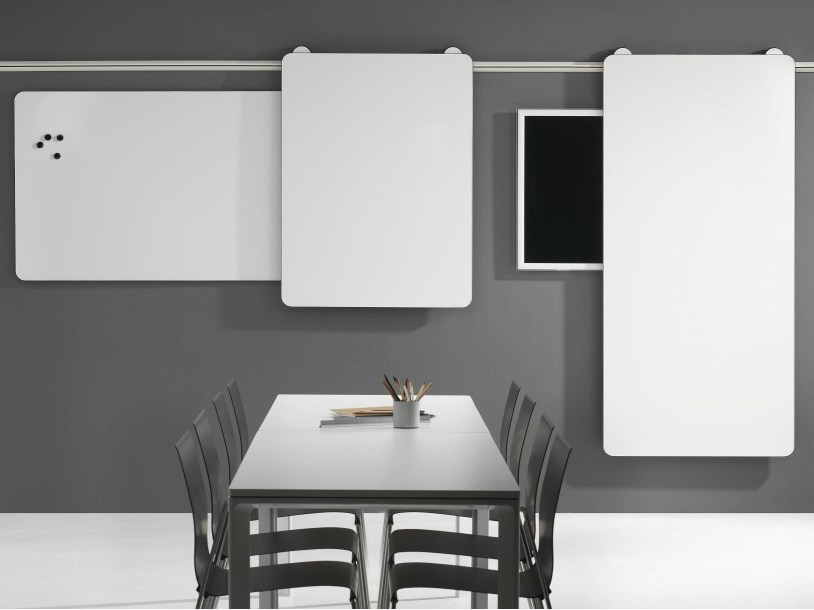 tableau blanc mural coulissante moow by abstracta design stefan borselius. Black Bedroom Furniture Sets. Home Design Ideas