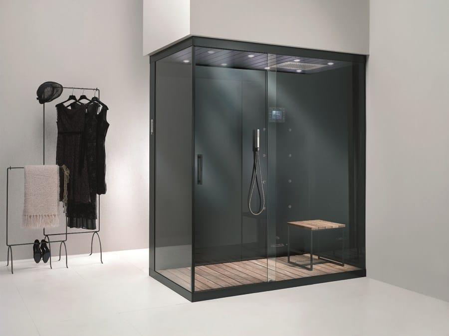 cabine de douche multifonction en aluminium et verre. Black Bedroom Furniture Sets. Home Design Ideas