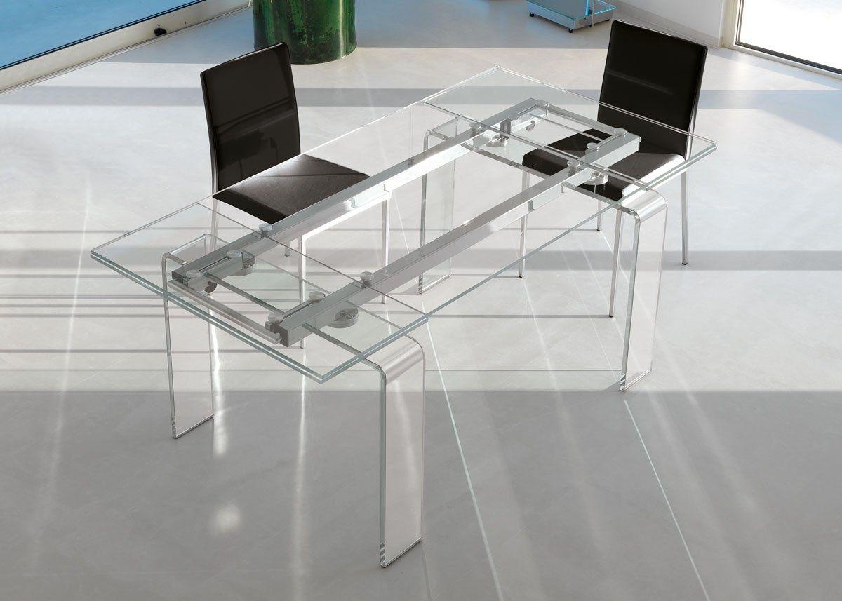 Mesa extensible de comedor rectangular de vidrio de dise o for Mesa de comedor de vidrio rectangular