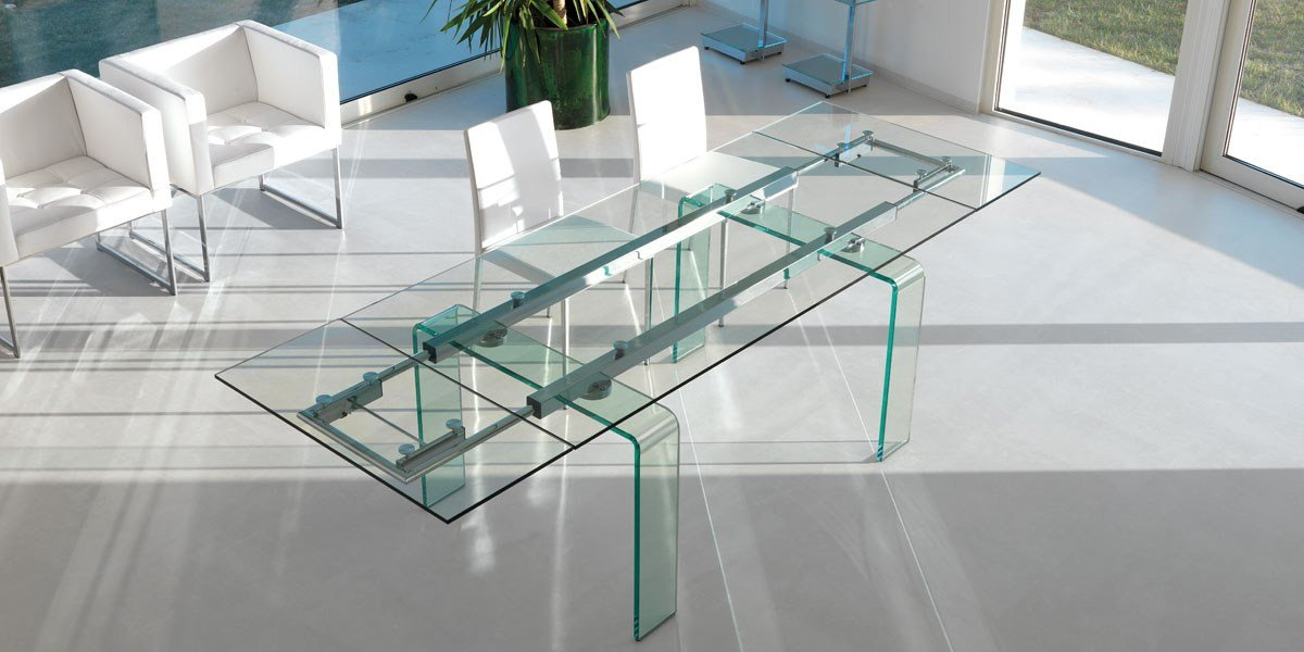 Table extensible manger rectangulaire en verre design for Table en verre extensible design