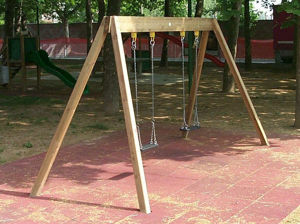 Altalena in acciaio inox e legno doppia young by legnolandia for Altalena legno usata