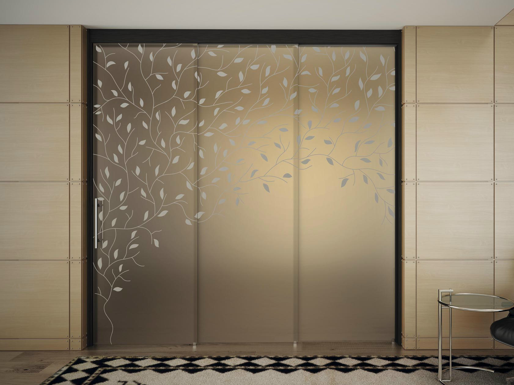 Glass sliding door with pelmet sinthesy light by foa Sliding glass wall doors