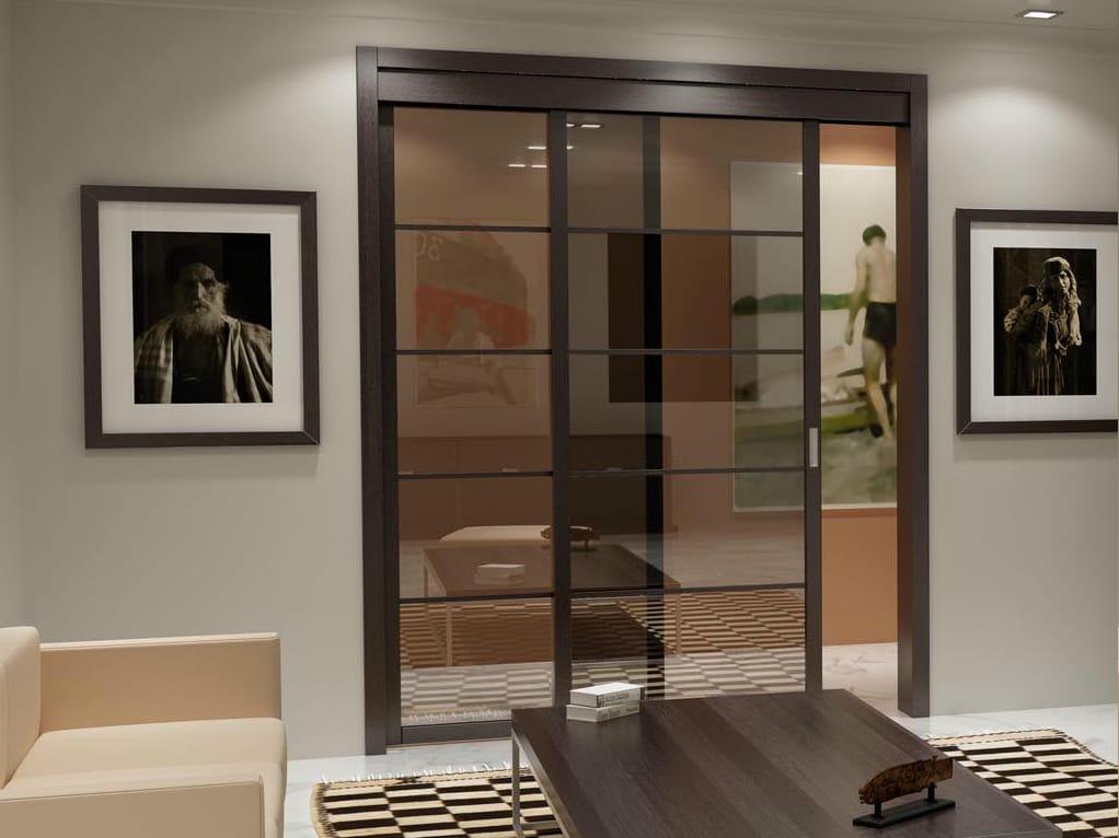 puerta corrediza de vidrio flat f5 by foa