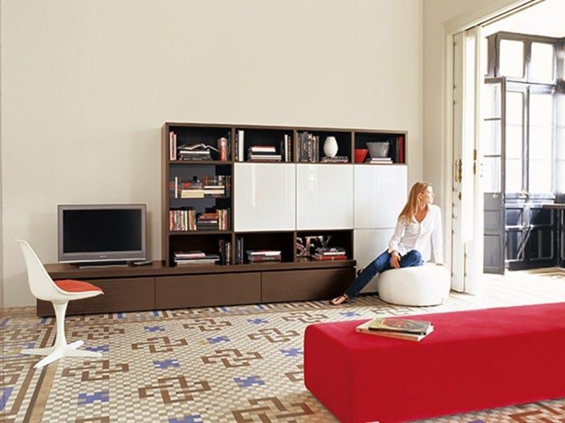 ensemble mural en bois massif avec support tv bdos collection bdos by treku design tarte. Black Bedroom Furniture Sets. Home Design Ideas