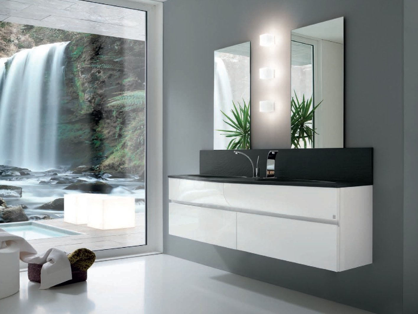 Meuble sous vasque simple ab 7020 collection wave by rab for Salle de bain optimisee