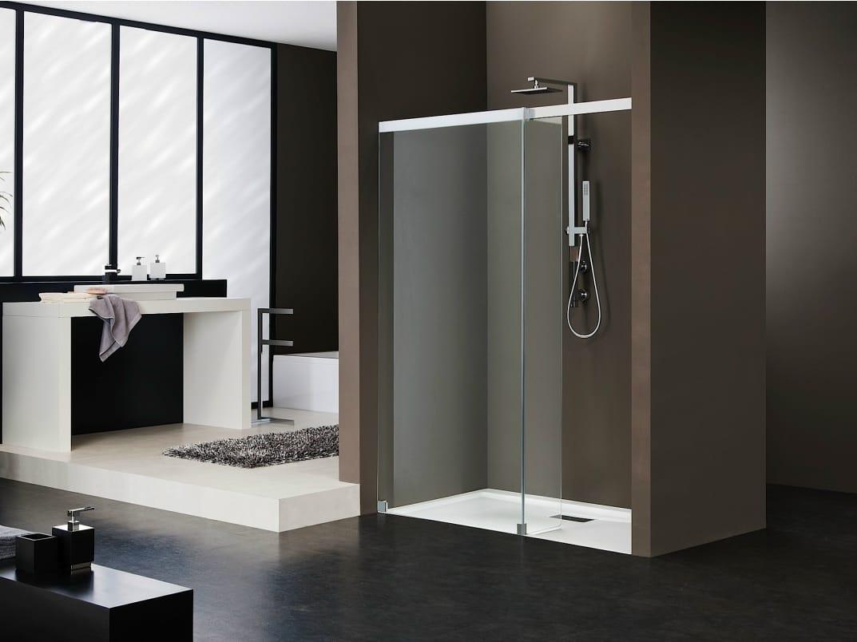 cabine de douche en niche en cristal libero 5000 by duka. Black Bedroom Furniture Sets. Home Design Ideas