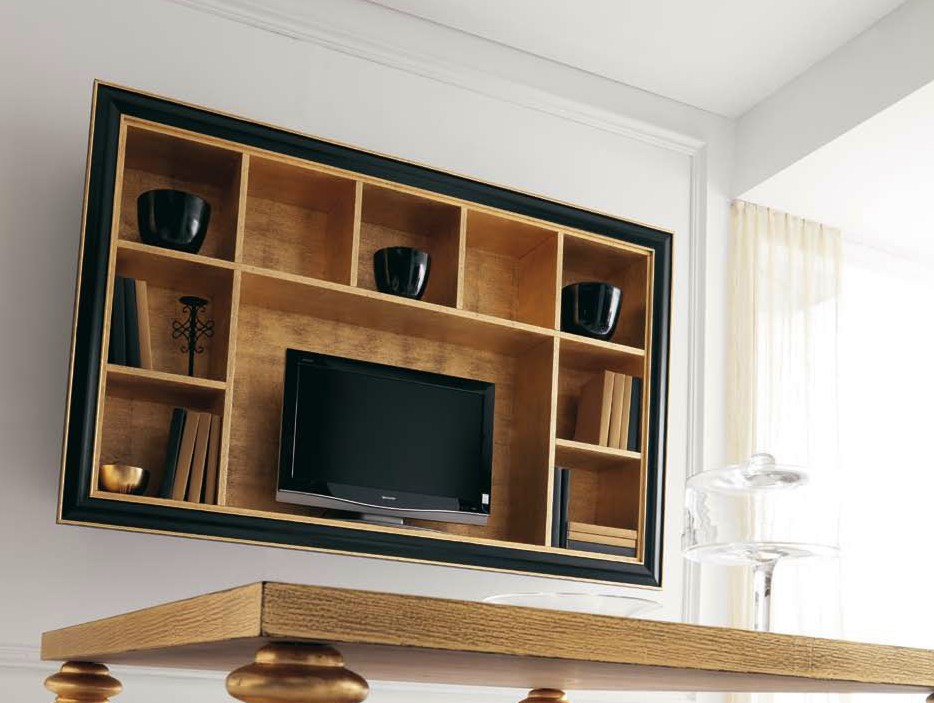 meuble tv en bois avec tag re zoe by cortezari. Black Bedroom Furniture Sets. Home Design Ideas
