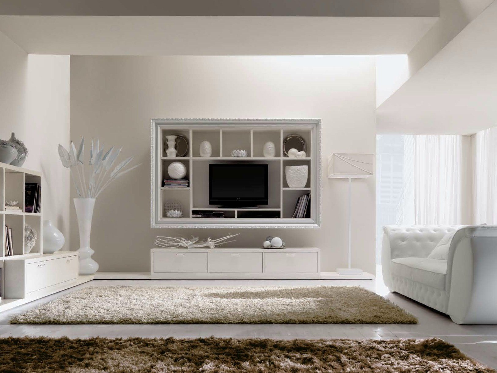 meuble tv mural en bois avec tag re greta by cortezari. Black Bedroom Furniture Sets. Home Design Ideas