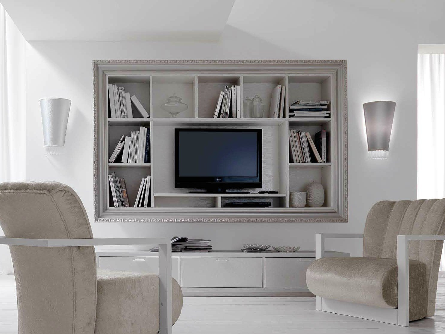 Wall mounted wooden tv cabinet with shelves greta by cortezari for Accent meuble la tuque
