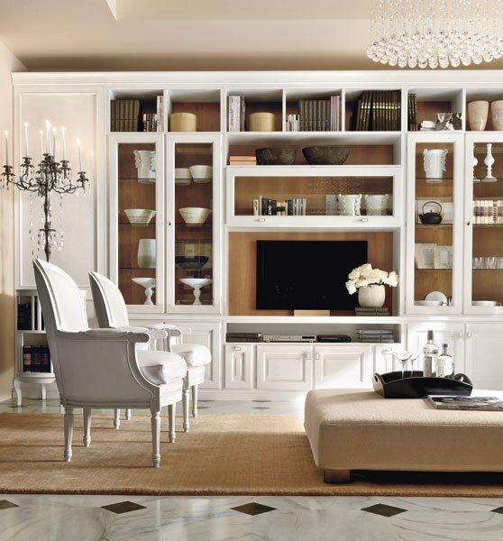 Classic style lacquered tv wall system san remo by martini - Mobili tv vintage ...