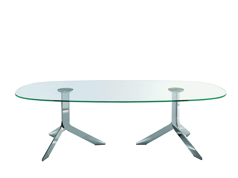 Iblea tavolo ovale by desalto design gordon guillaumier for Tavoli in cristallo e acciaio