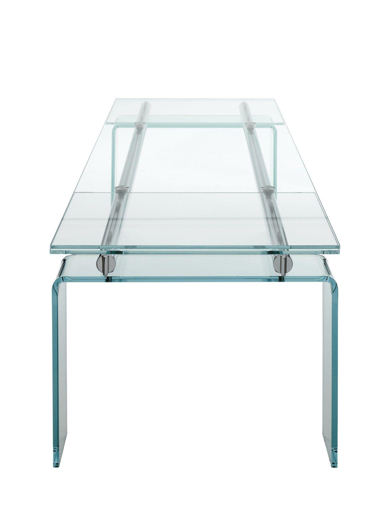 Extending crystal table stilt glass by desalto design decoma design - Extending table ...