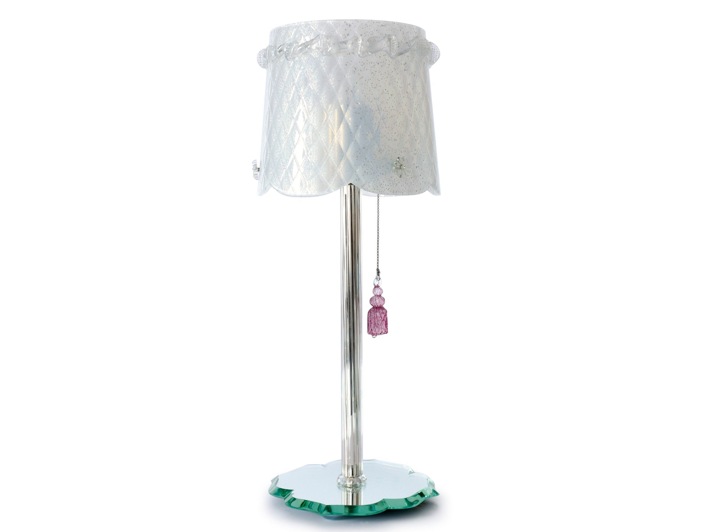 Lampe de table en verre de murano pompon collection belle de nuit by veronese - Lampe de table de nuit ...