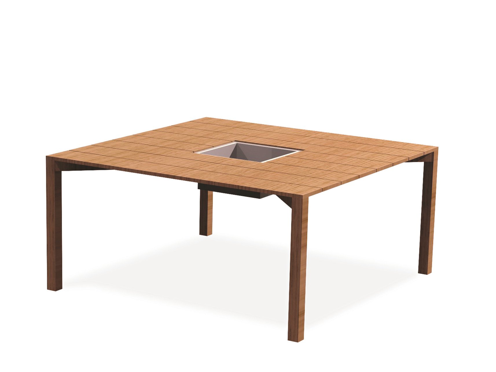 Table de jardin carr e en teck oxn collection oxn by for Table jardin en teck