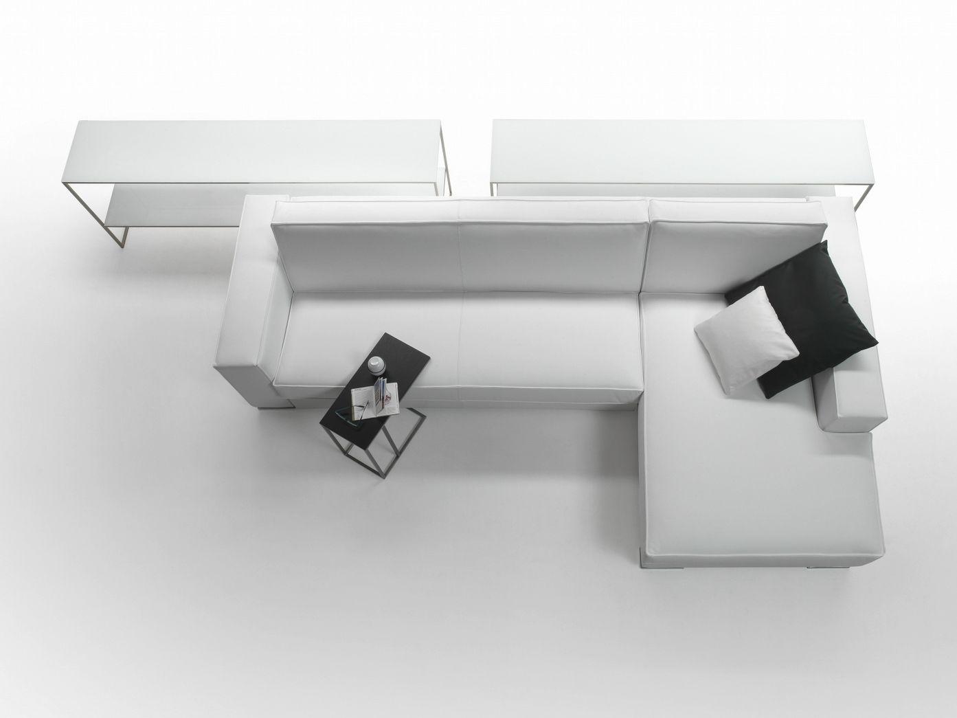 divano angolare in ecopelle bianco soggiorno letto con pouf e ...