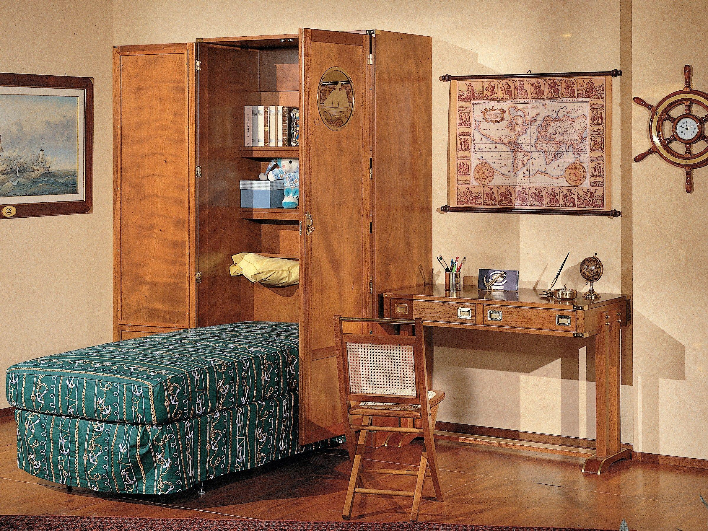 Letto singolo in legno in stile classico con armadio 190 for Letto con armadio