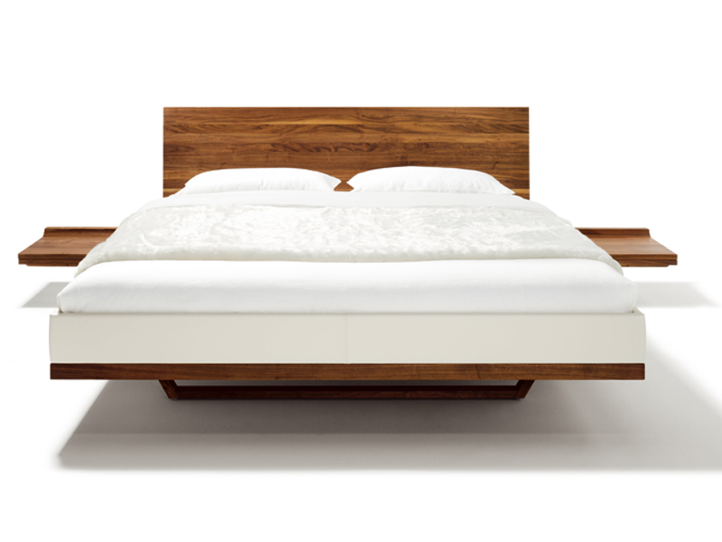 Lit Double En Bois Massif : Platform Bed with Built in Side Tables