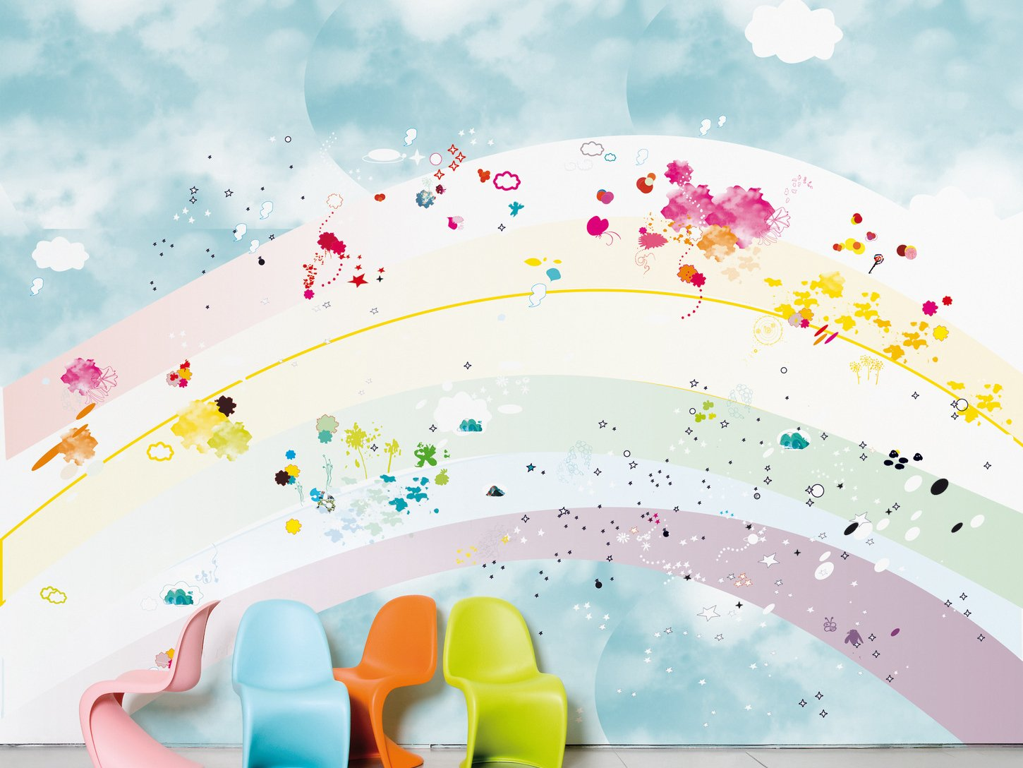 Rainbow domestic collection by moustache design coco tassel for Childrens wallpaper