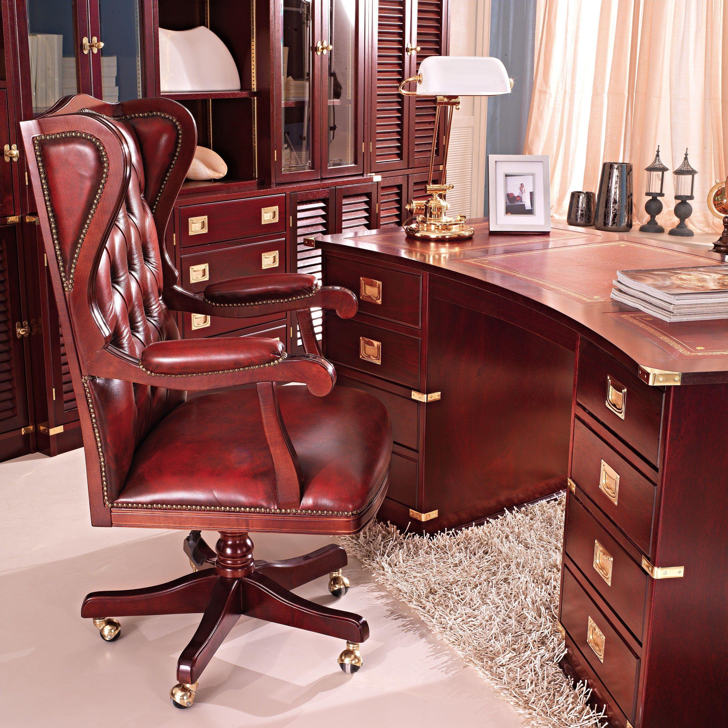 Scrivania ad angolo in legno con cassetti t desk for Sillones ejecutivos para oficina