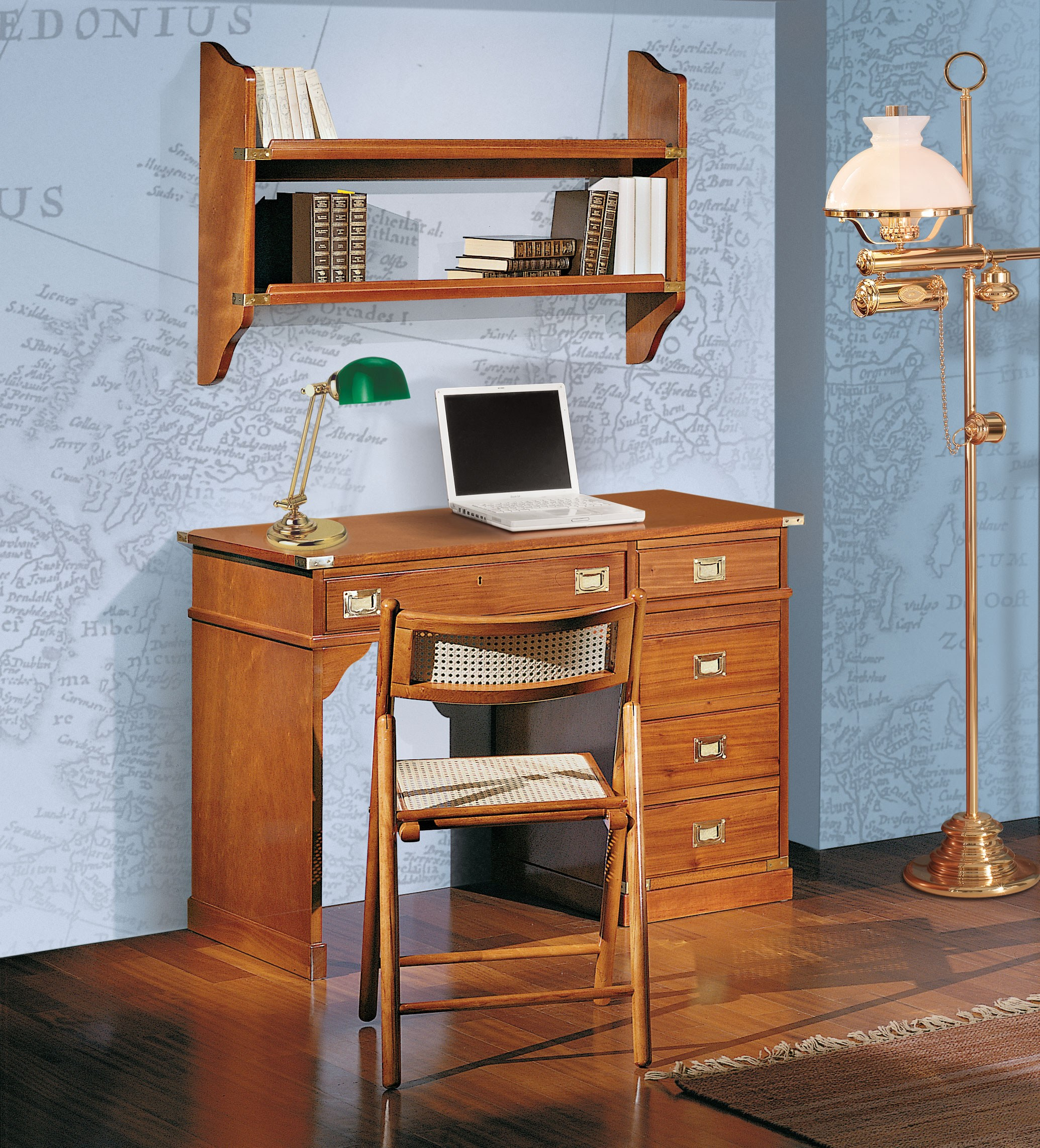 Amazing photo of WOODEN WRITING DESK WITH DRAWERS REGENT COLLECTION BY CAROTI with #9F5C2C color and 2069x2283 pixels