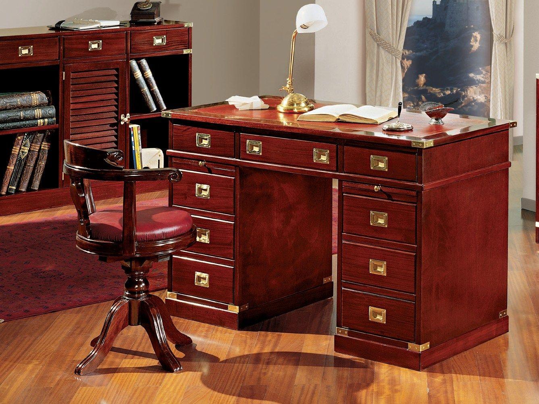 Regent escritorio con cajones by caroti for Sillas para escritorio de madera