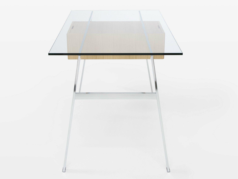 schreibtisch aus glas mit schubladen homework by bensen. Black Bedroom Furniture Sets. Home Design Ideas
