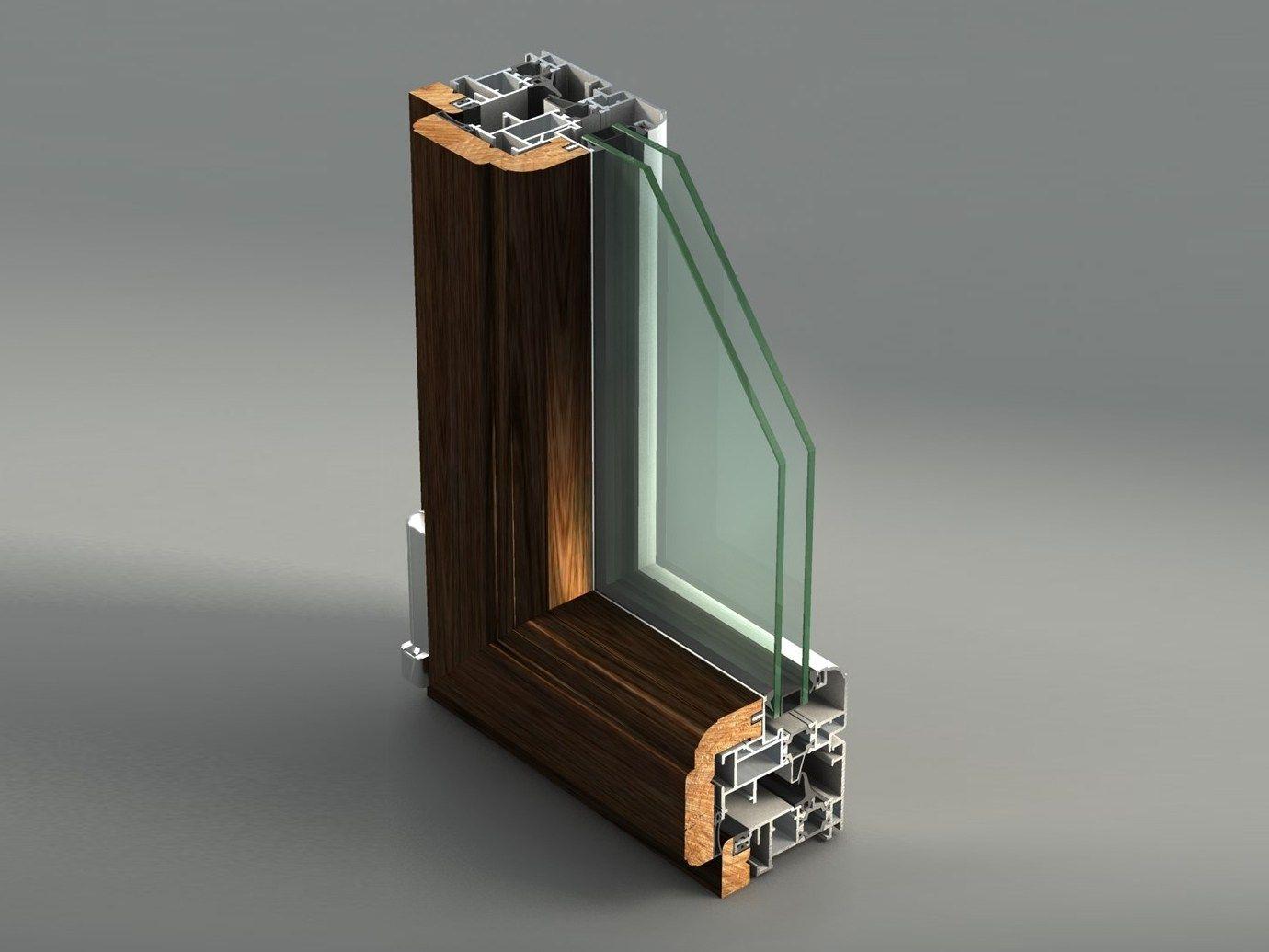 #9B6530 Janela batente de alumínio e madeira com ruptura térmica AELLE 80  1668 Janela De Aluminio Madeira Madeira