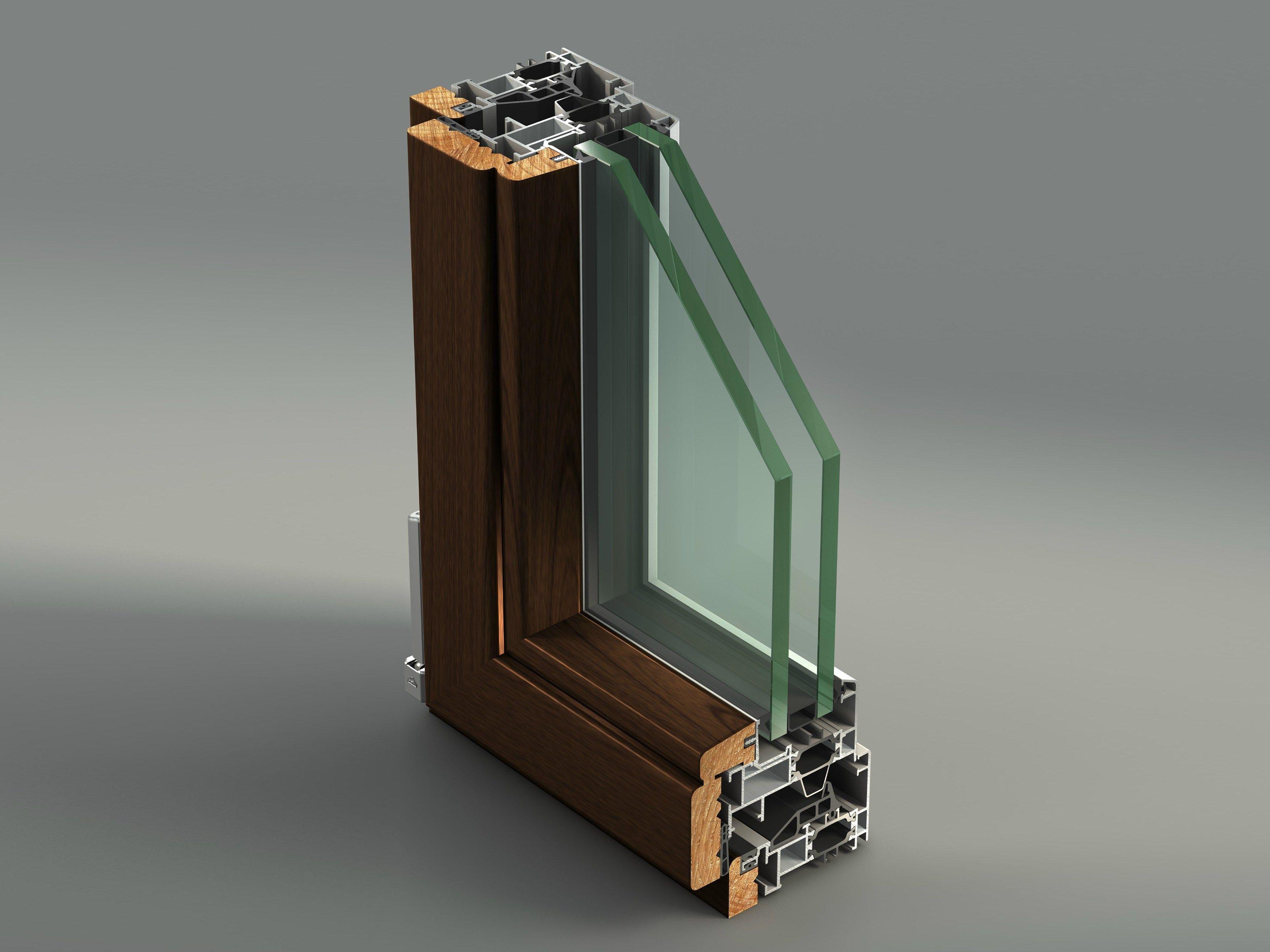 #966835 Janela batente de alumínio e madeira com ruptura térmica AELLE 100  1668 Janela De Aluminio Madeira Madeira