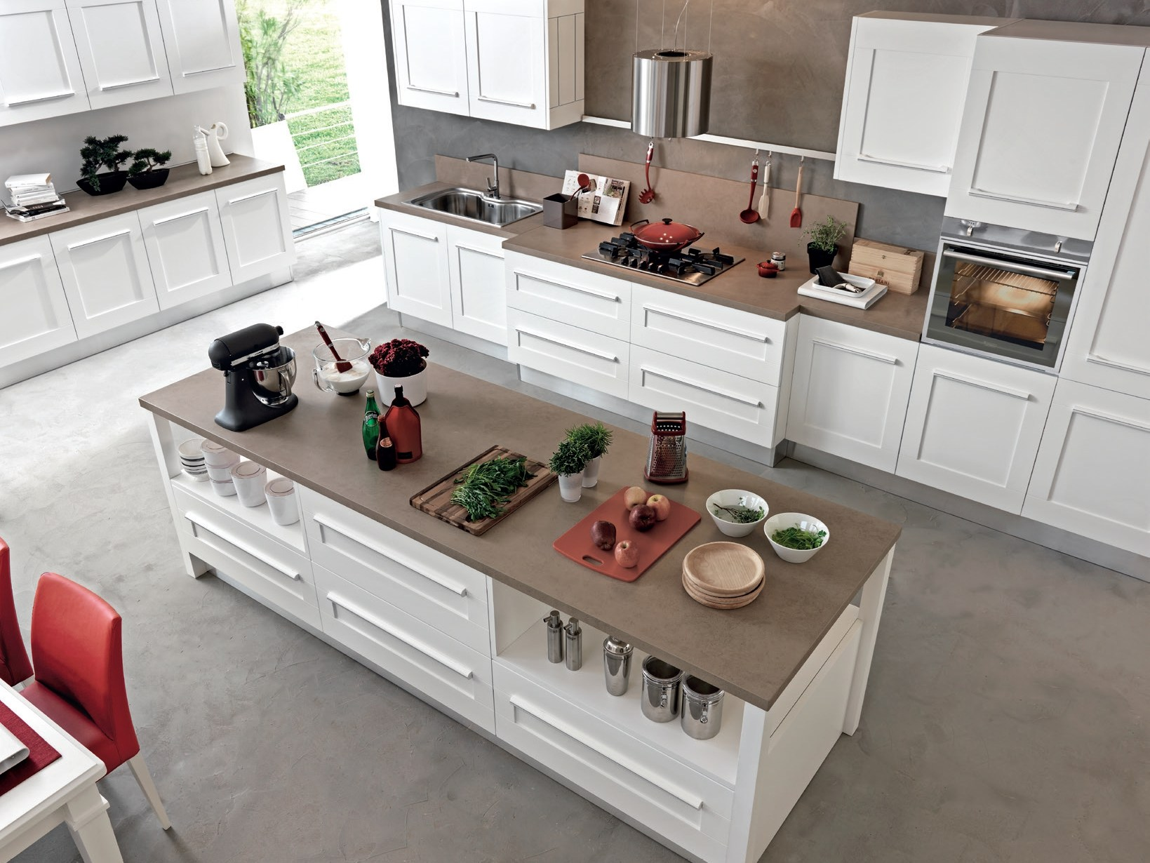 Gallery cuisine avec lot by cucine lube for Cuisine table centrale