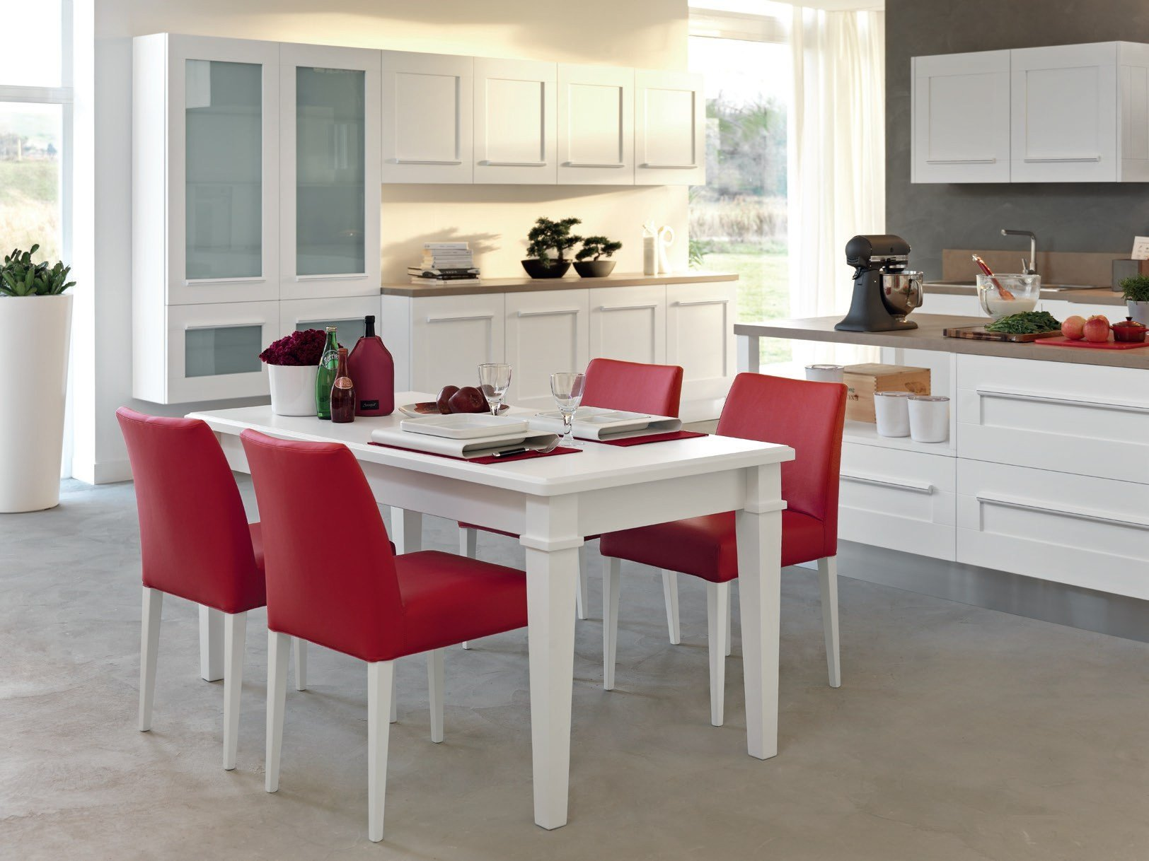 gallery kitchen with island by cucine lube