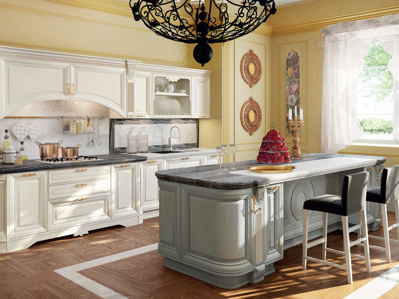 Cucina decapata con isola collezione pantheon by lube industries s r l - Cucina pantheon lube prezzo ...